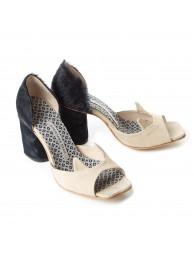 Туфли кошки с мехом на каблуке
