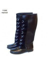 Сапоги  кожаные 11068 black