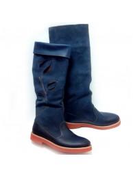 Сапоги  кожаные 15024 dark blue